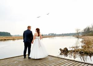 Brudepar og svaner